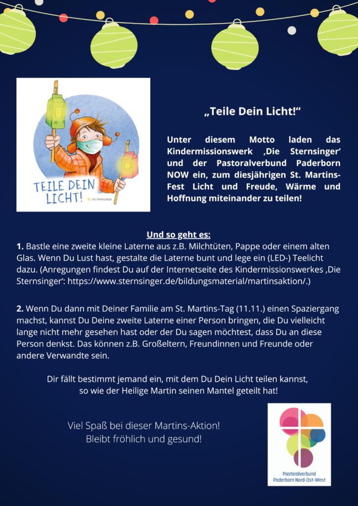 """Plakat zur Aktion """"Teile dein Licht"""" zu St. Martin 2020"""