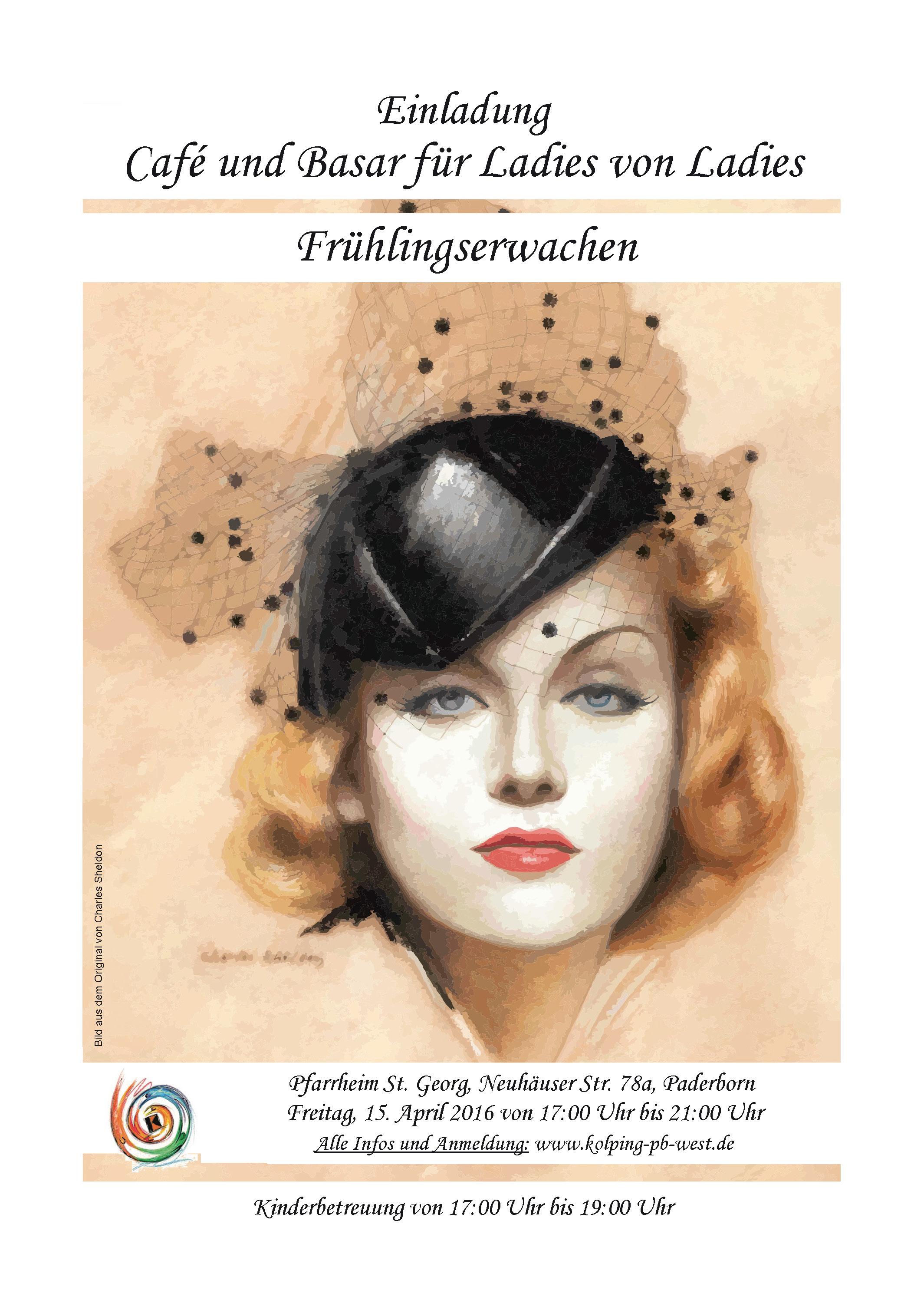 Flyer für den Kleiderbasar der Kolpingsfamilie Paderborn-West am 10.04.2016 im Pfarrheim St. Georg