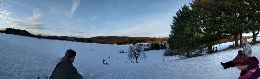 Winterpanorama beim Schlittenfahren