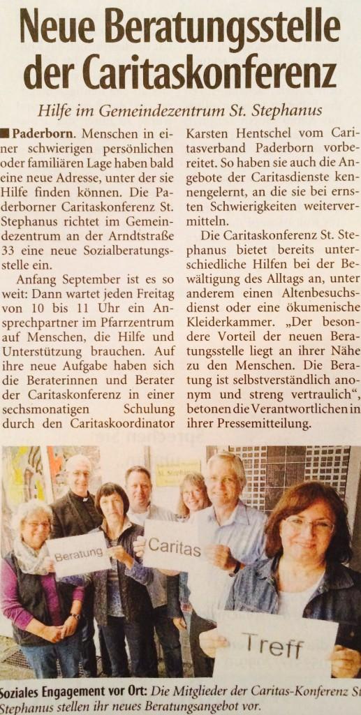 Zeitungsartikel zur Beratungsstelle der Caritas St. Stephanus