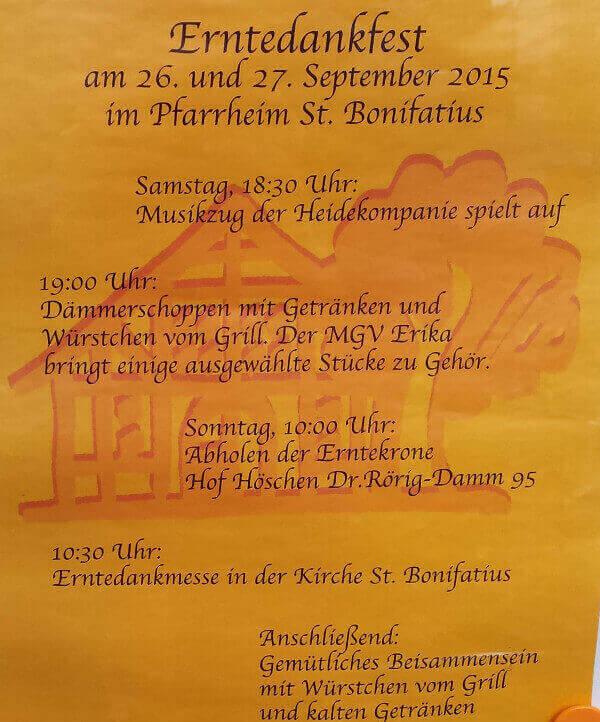 Plakat Erntedankfest in St. Bonifatius 2015