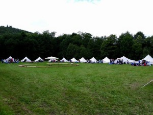 Einräumen der Zelte