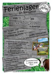 Plakat 34. Ferienlager St. Bonifatius 2016