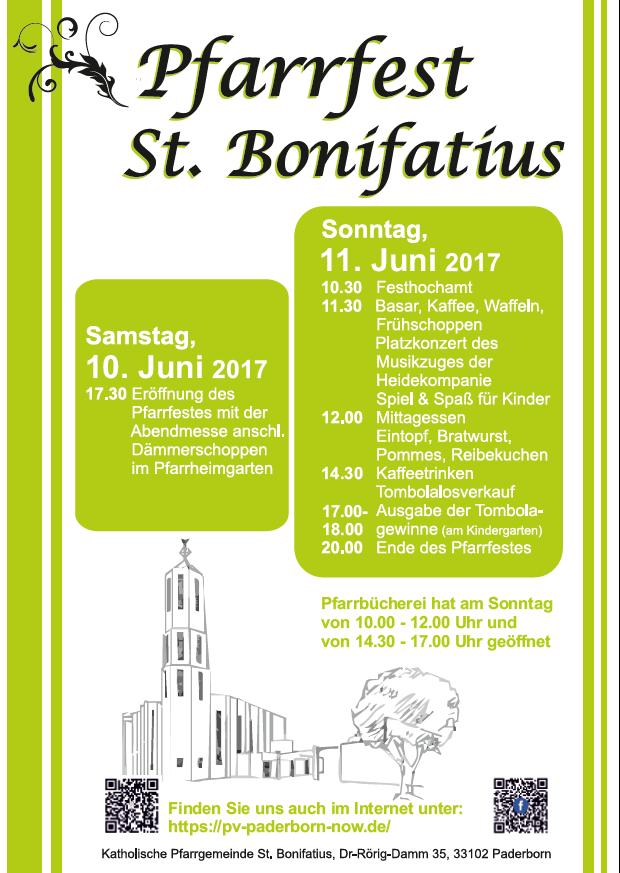 Plakat Pfarrfest St. Bonifatius 2017