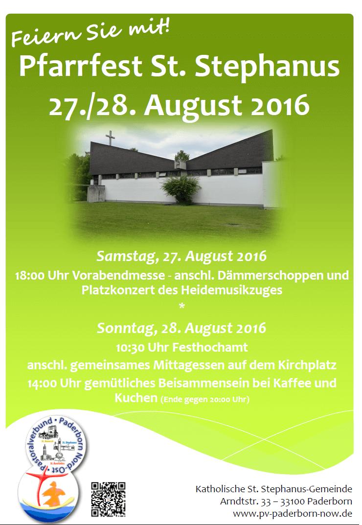 Plakat Pfarrfest St. Stephanus am 27./28.08.2016