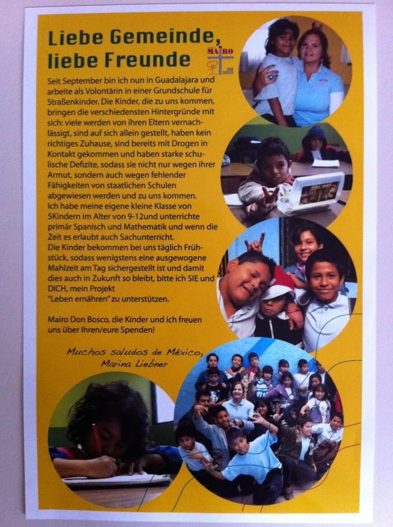 Brief von Marina Liebner an die Gemeinde