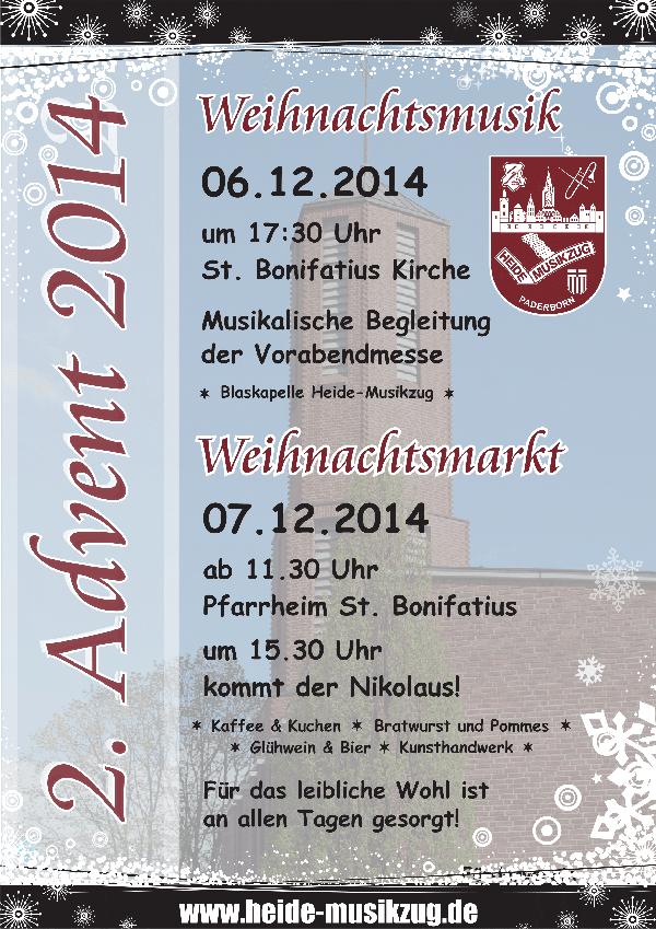 Plakat Weihnachtsmarkt in St. Bonifatius 2014